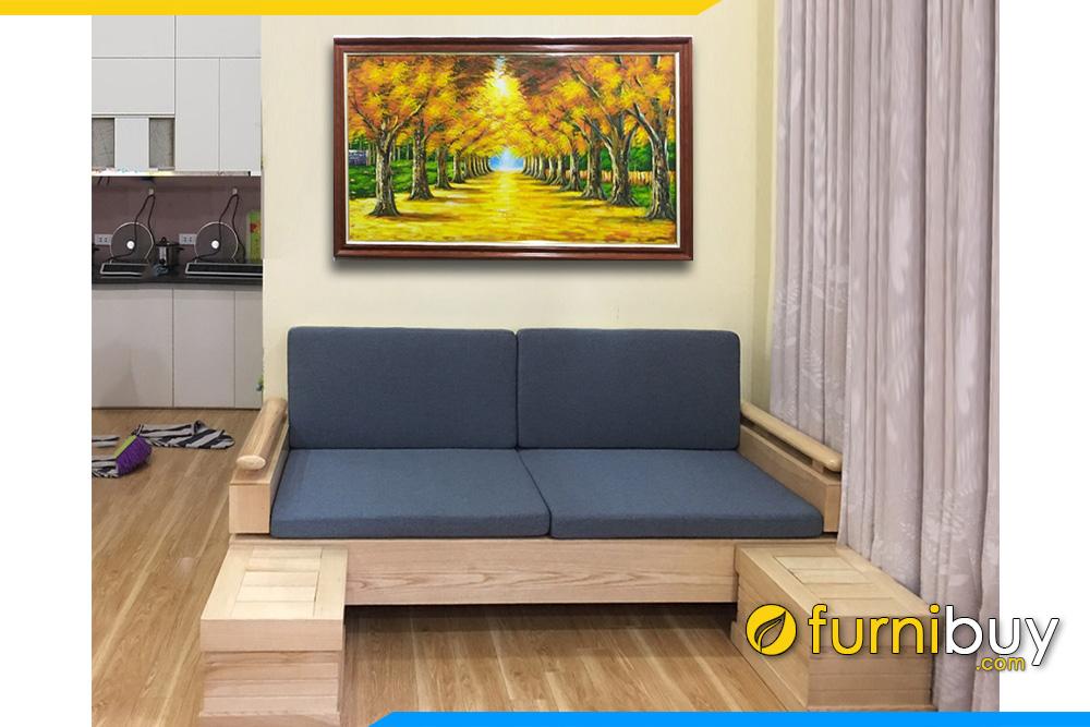 sofa văng gỗ sồi 2 chỗ nhỏ gọn mini