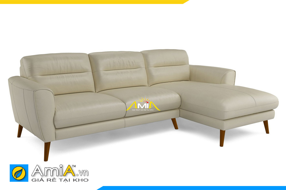 Hình ảnh mẫu ghế sofa da đẹp màu vàng kem