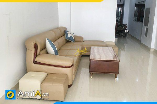 ghế sofa góc bọc da sang trọng viền gỗ AmiA338